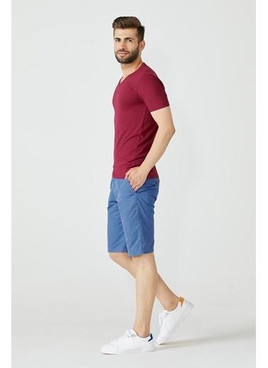 Sementa V Yaka Erkek Basic Tshirt - Bordo Bordo